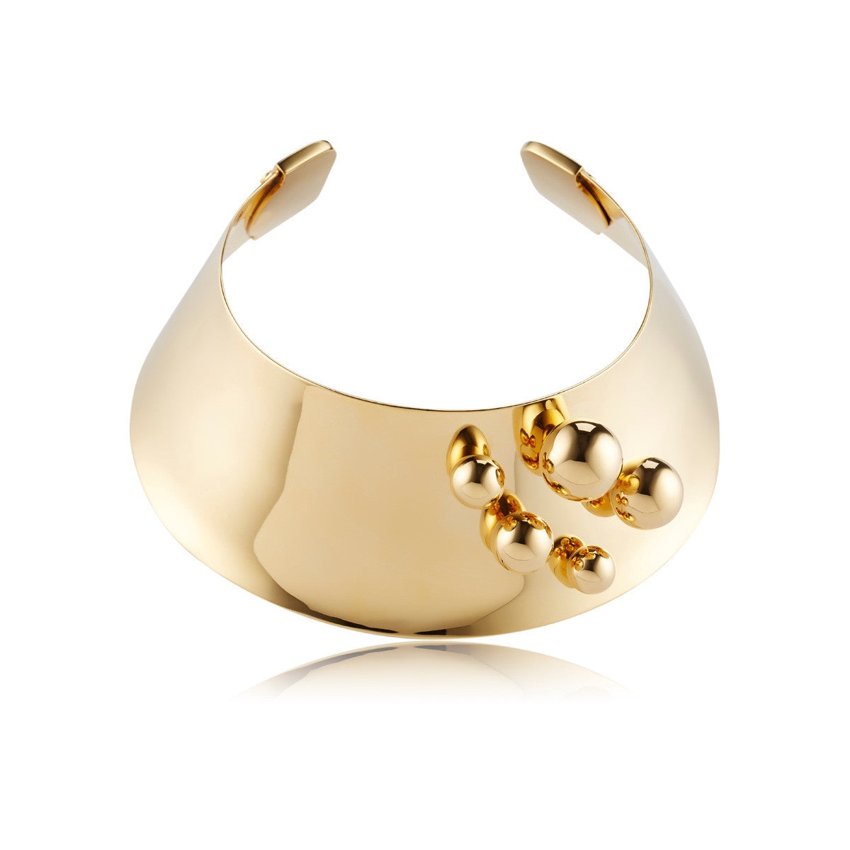 Solid brass, 18K gold plated Stellatus neck cuff is adorned with a cluster of gleaming spheres – front