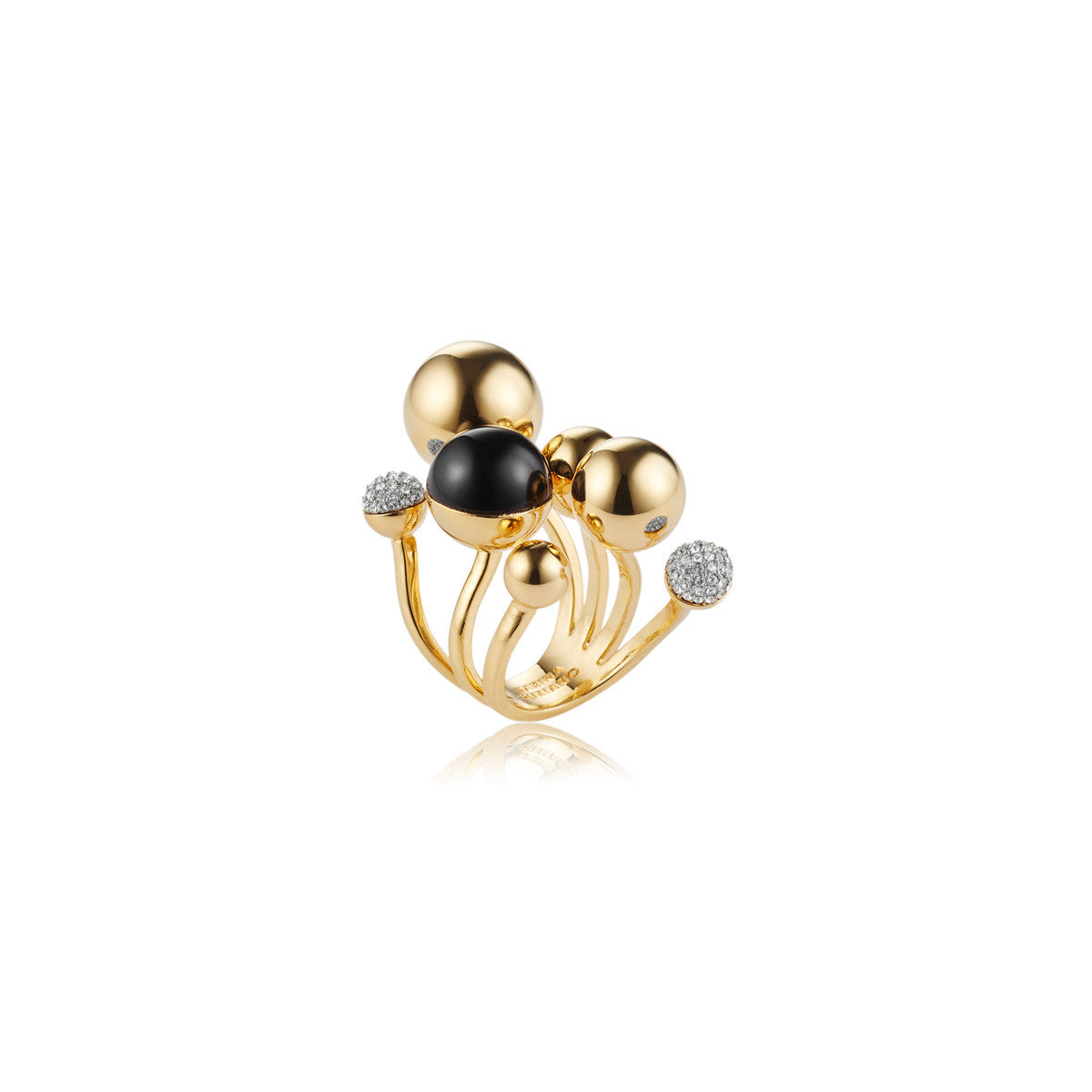 Solid brass, 18K gold plated Stellatus ring is adorned with clusters of gleaming metal, black onyx and Swarovski® crystal pavè spheres – front