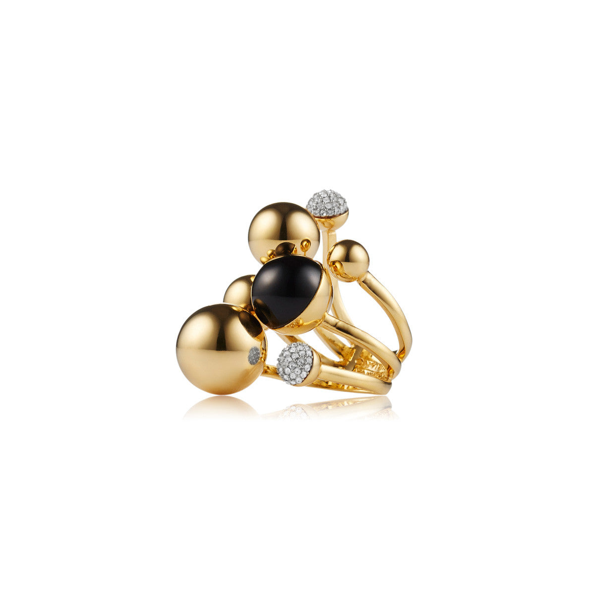 Solid brass, 18K gold plated Stellatus ring is adorned with clusters of gleaming metal, black onyx and Swarovski® crystal pavè spheres – side