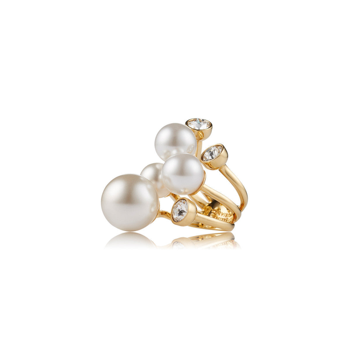 Solid brass, 18K gold plated Stellatus ring is adorned with clusters of lustrous Swarovski® crystal and pearls – side