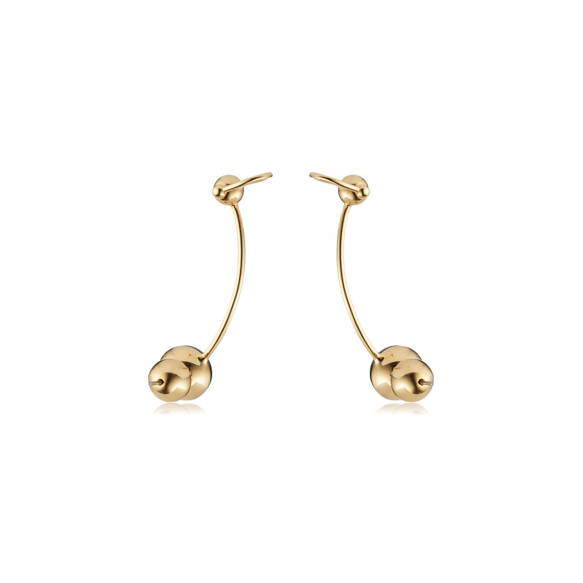 Solid brass, 18K gold plated Stella Crinita ear cuffs are set in hand cut natural black onyx - back