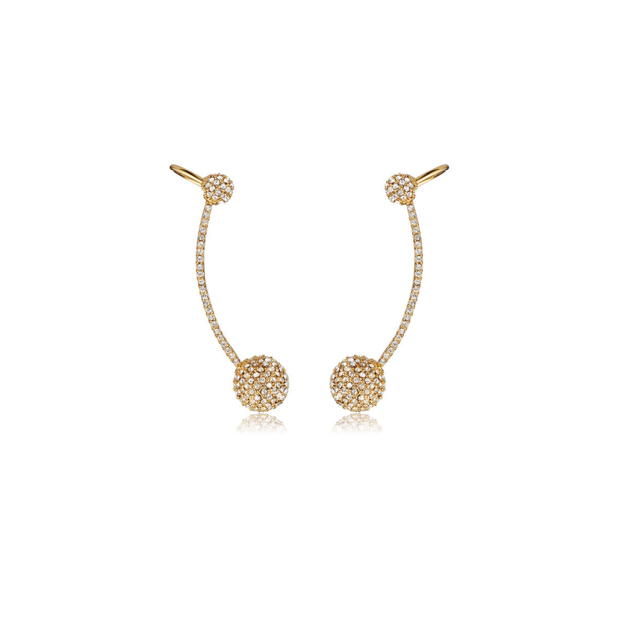 Solid brass, 18K gold plated Stella Crinita crystal ear cuffs inlaid with hundreds of dazzling Swarovski® crystals curve to fit the ear perfectly - front