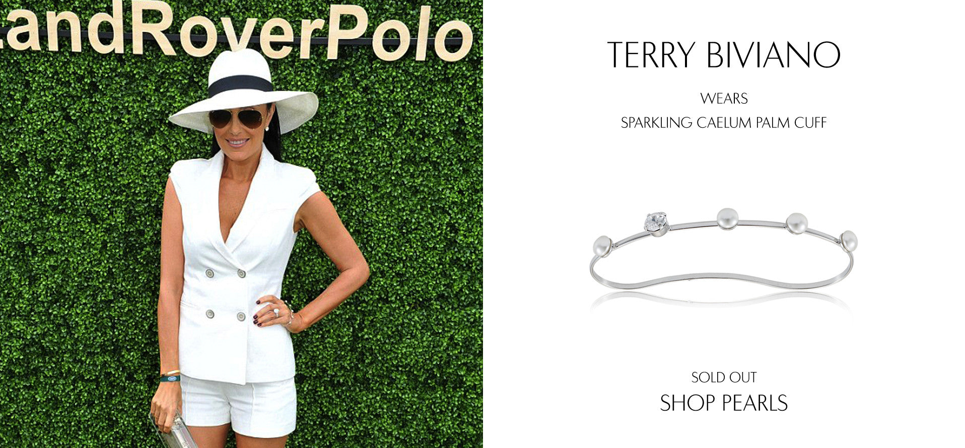 Socialite and Shoe Designer Terry Biviano wears Sarina Suriano Sparkling Caelum pearl palm cuff