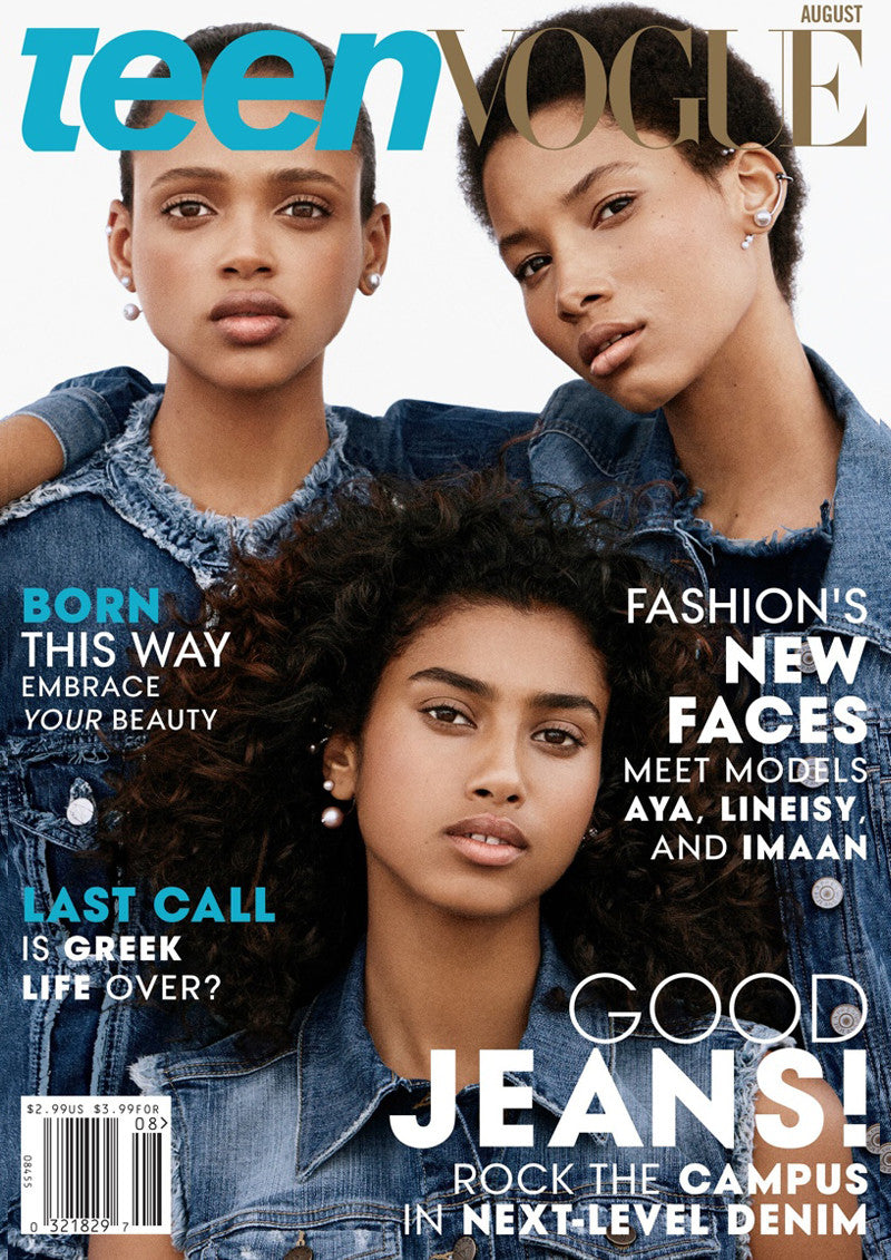 Image by Daniel Jackson for Teen Vogue August 2015 issue styled by Beth Fenton modelled by Imaan Hammam Aya Jones and Lineisy Montero wearing Sarina Suriano Stella Crinita pearl earcuffs, Spherical Splendida pearl earcuff & stud and Luna Kingdom pearl earcuff & stud
