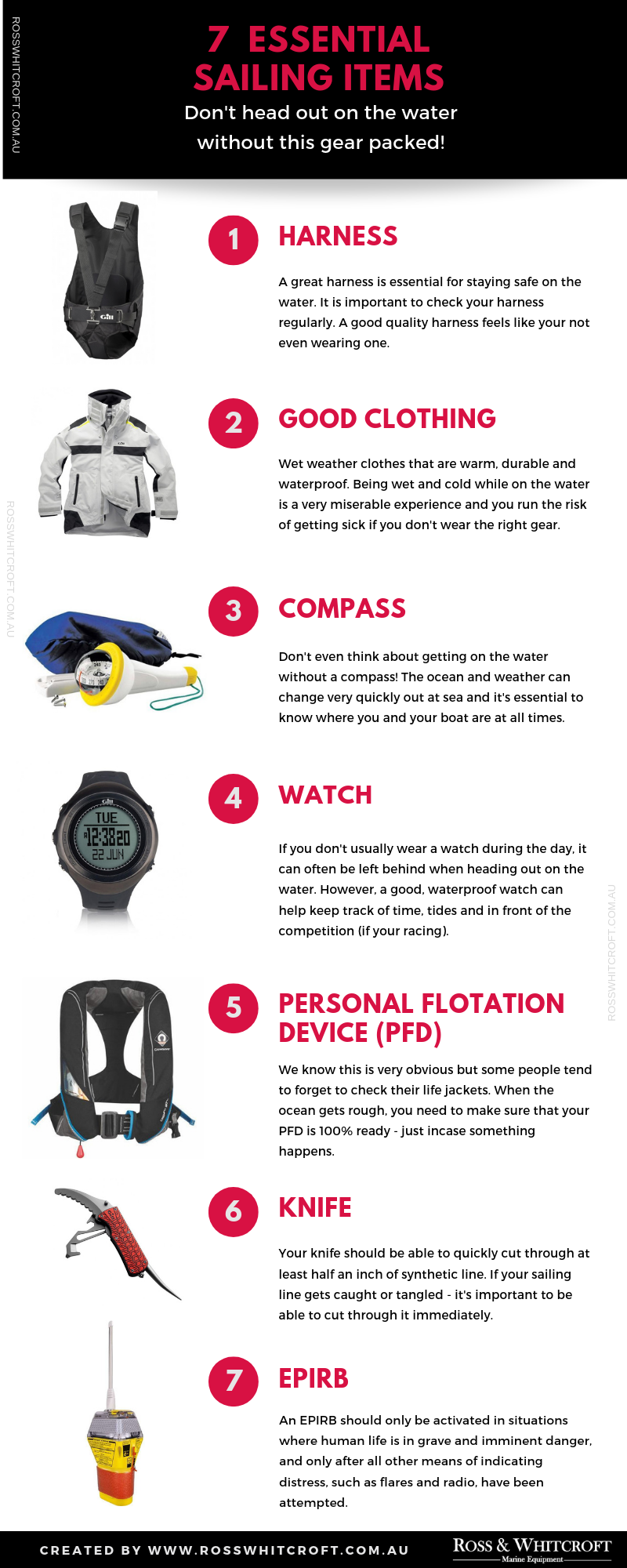 7 Essential Sailing Items (Infographic)