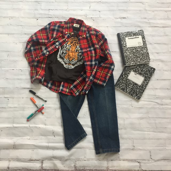 Boys Plaid Flannel with Tiger Face tee and jeans