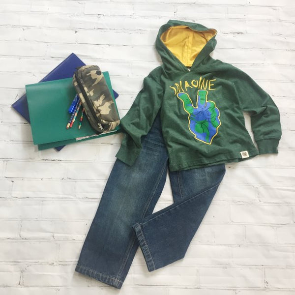 Green Imagine Hoodie with Premium Straight Leg Jeans