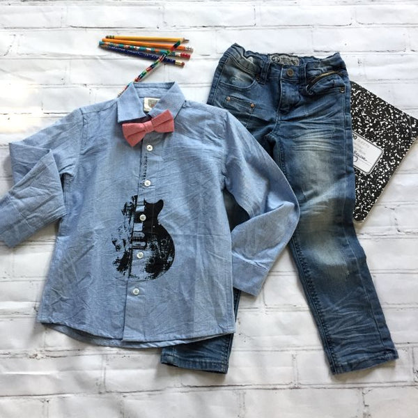 Boys Blue Guitar Button-Up with Hipster Jeans