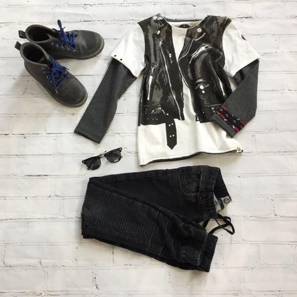 Boys' Faux Motorcycle Vest Shirt, Sunglasses, and Moto Jegging