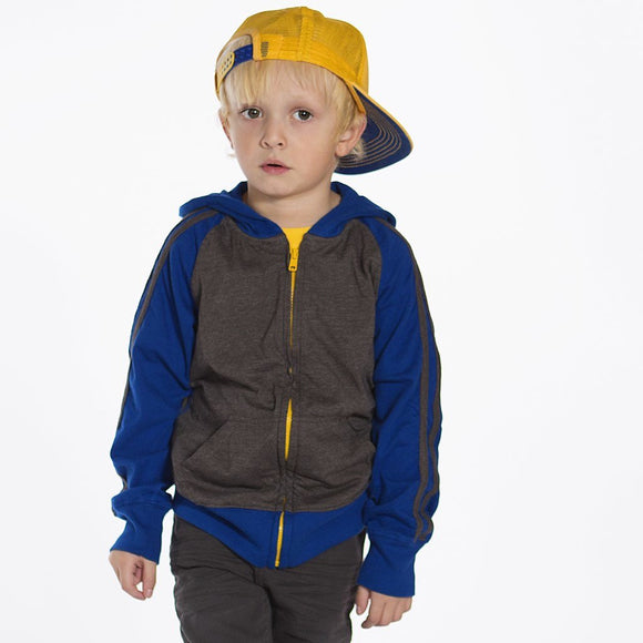 Boys Hoodie, Blue Charcoal & Yellow, on model