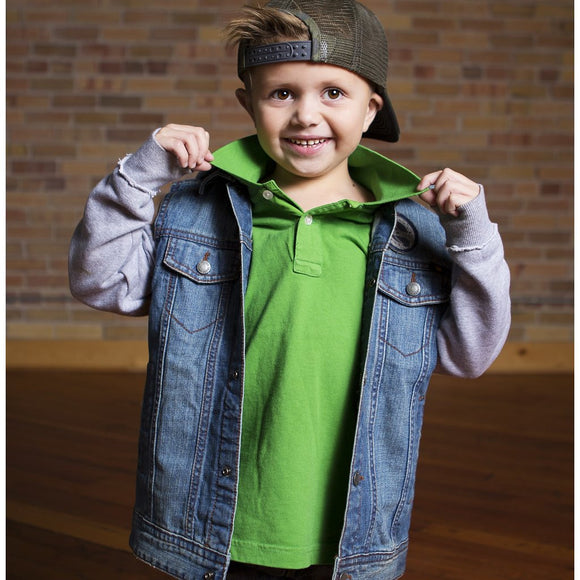 Jack Thomas Solid Classic Boys Polo, green on model