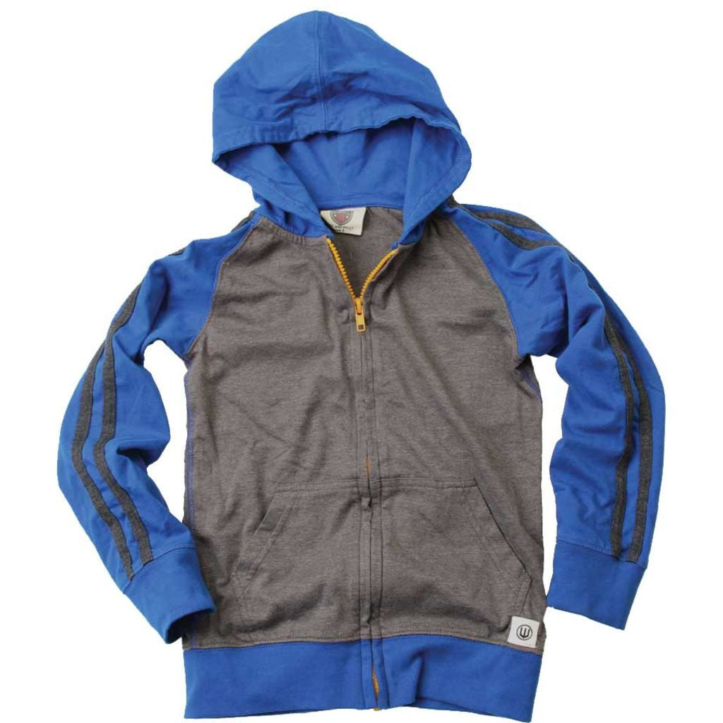 Boys Hoodie, Blue Charcoal & Yellow, Flat