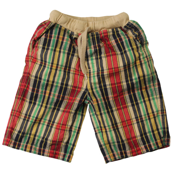 Wes and Willy Boys Plaid Khaki Shorts