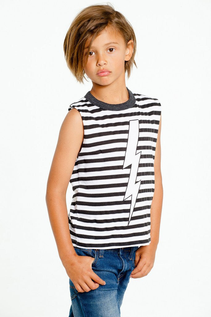 Chaser Kids Striped Lightning Muscle Tank