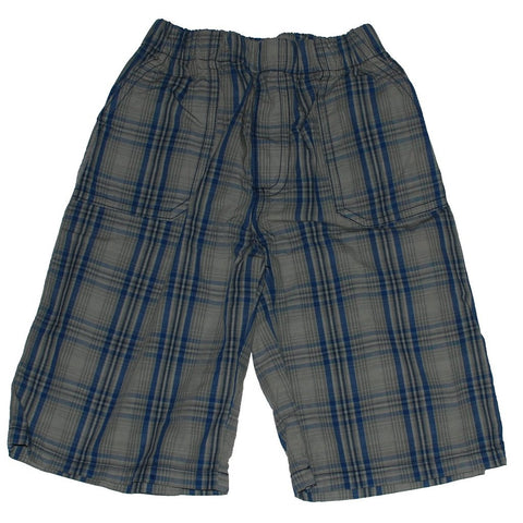 Boys Blue Plaid Shorts, Elastic Waistband