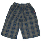 Boys Blue Plaid Shorts, Elastic Waistband back view