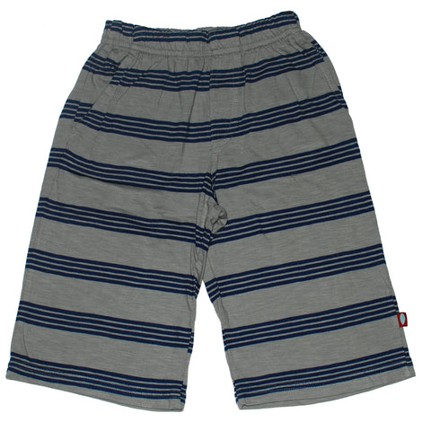 Jersey Knit Shorts, Blue/Grey Stripe