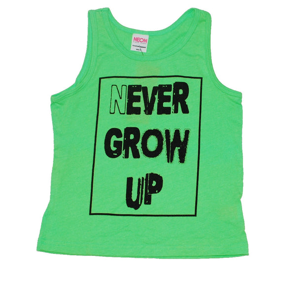 Trilogy Design Never Grow Up Neon Boys Tank, flat