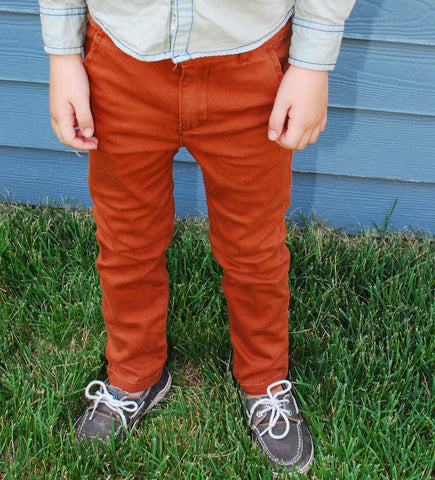 Appaman Rust Orange Bushwick Pants, model