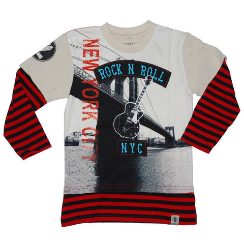 Dogwood NYC Rock Layered tee, ivory, red, and black