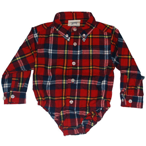 Plaid Button-up Onesie - Clearance!
