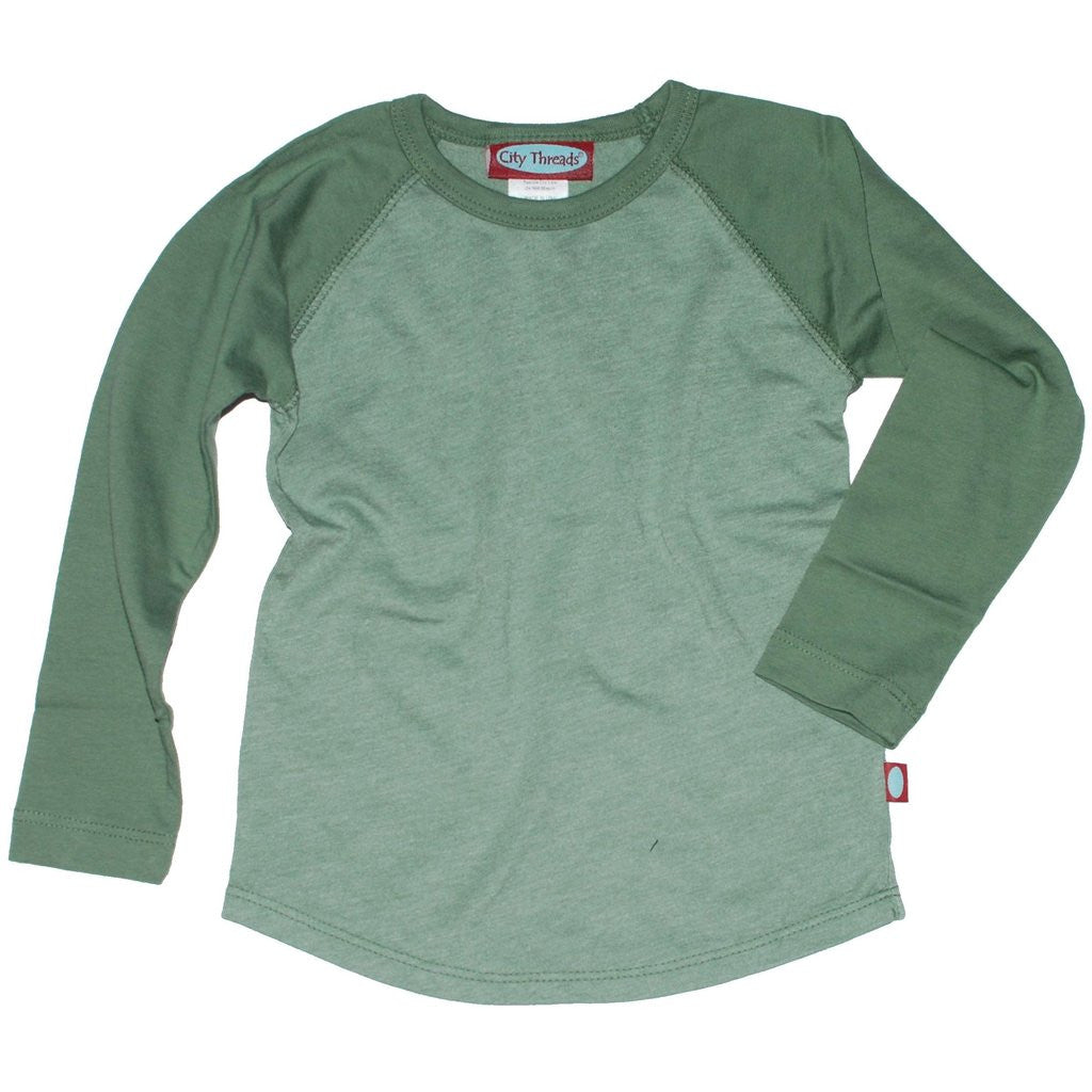 Long Sleeve Boys Raglan Shirt, olive
