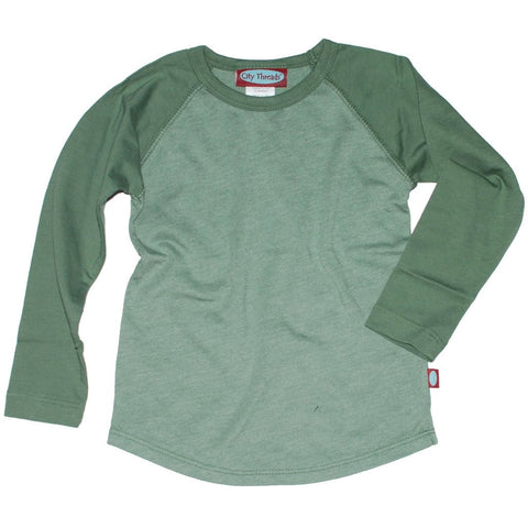 Olive Raglan Cotton Tee - Size 5 - Clearance!