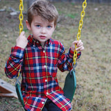 Boys Red plaid flannel shirt, on model