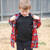Boys Red plaid flannel shirt, worn as layer