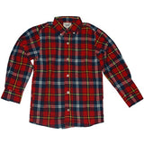 Boys flannel shirt, red plaid, flat
