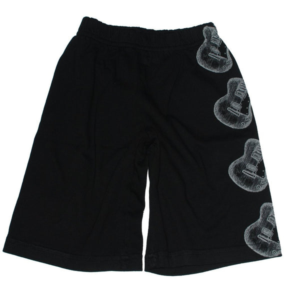 City Threads Boys Knit Shorts, Black with Guitars