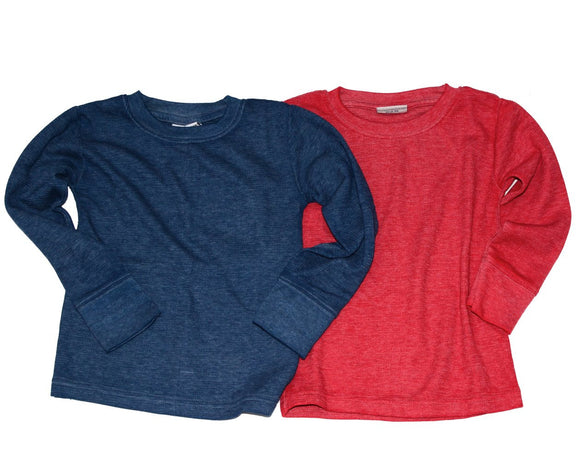 Ultra soft boys solid thermal shirt, navy or red
