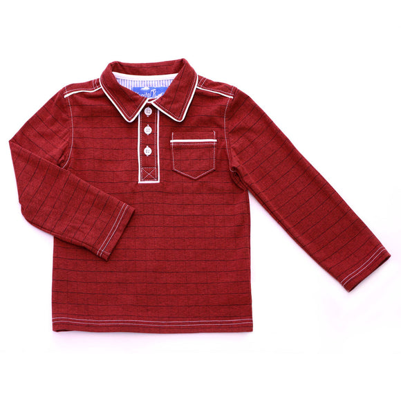 Red Windowpane Long Sleeve Polo