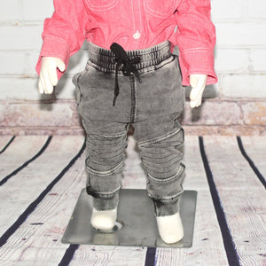 Washed Knit Biker Jogger, Grey - Clearance!