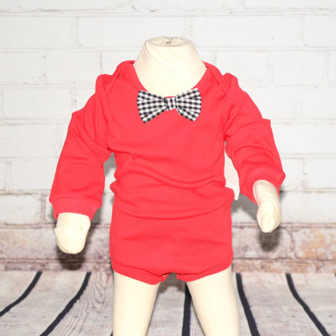 Baby Holiday Onesie - Red with Checked Bowtie