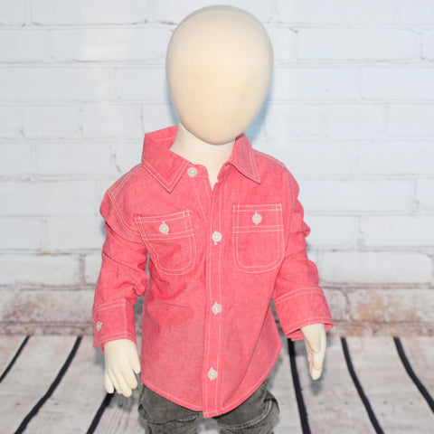 Red Chambray Button-up