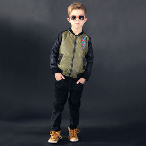 Moss Green Bolt Bomber Jacket