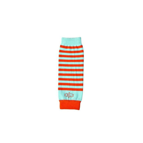 Striped Boys Legwarmers for newborns, blue and orange