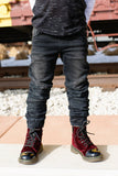 Rowen Christian Couture Denim: Moto Jogger style in jet black