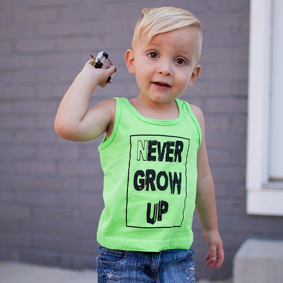 Trilogy Design Never Grow Up Neon Boys Tank, model