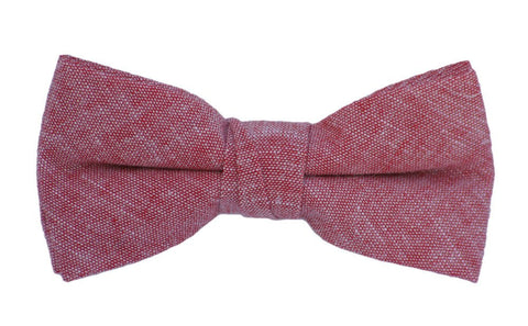 Boys Red Chambray Bow Tie, Adjustable