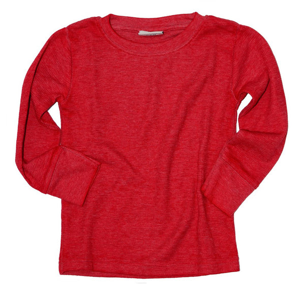 Ultra soft boys solid thermal shirt, red