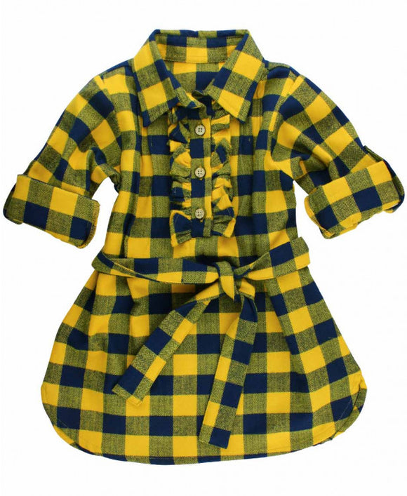 Mustard Buffalo Plaid Shirt Dress (for Sister!), Size 4T - Clearance!