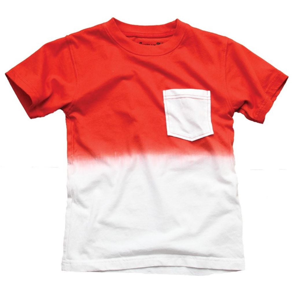 City Threads Red Dip Dye Pocket Tee for boys