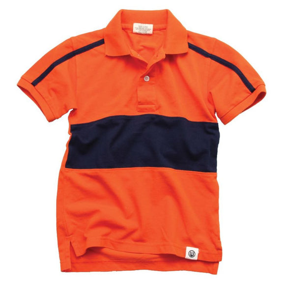 Wes & Willy Boys Rugby Polo, Orange and Navy