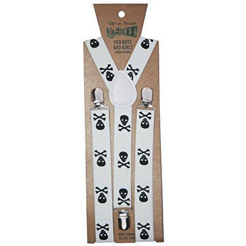 Boys Suspenders, White Skulls