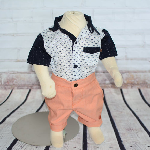 Dog Print Shirt & Orange Short Baby Set - Clearance!
