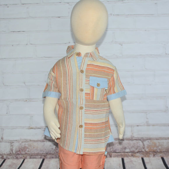 S/S Striped Linen Shirt - Clearance!