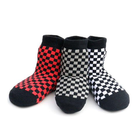 Checkered Socks for baby or toddler, red, black and grey