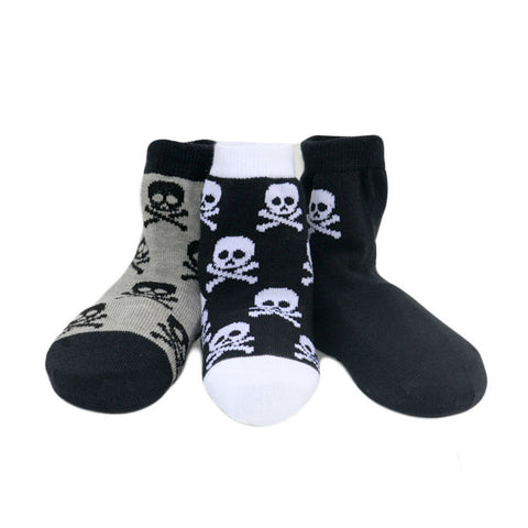 Skull Socks for boys, baby, toddlers. Black, grey and white